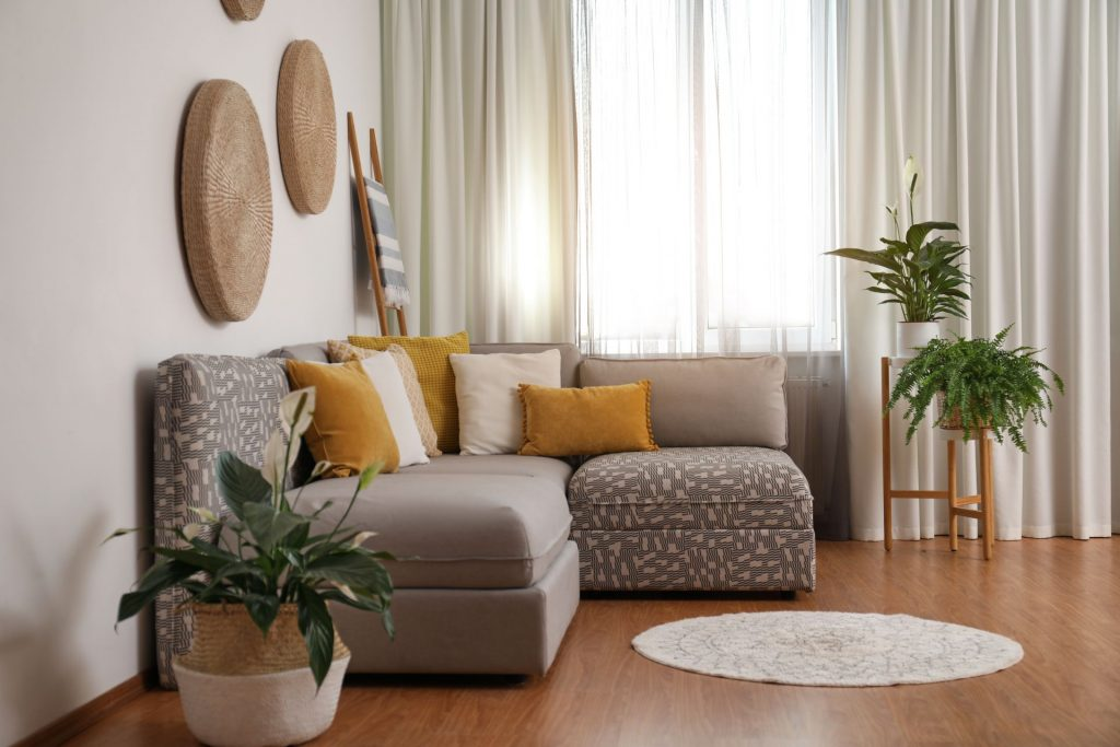 stylish curtains in living room