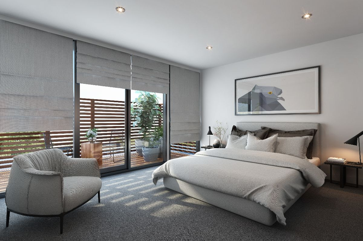 bedroom with roman blinds in sunshine coast
